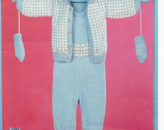 Vintage baby knitting pattern pdf  baby all in one hooded jacket mitts bootees dungarees cardigan 16-22 inch DK  pdf instant download