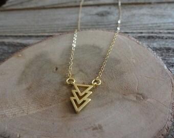 Minimalist Gold Triangle Necklace