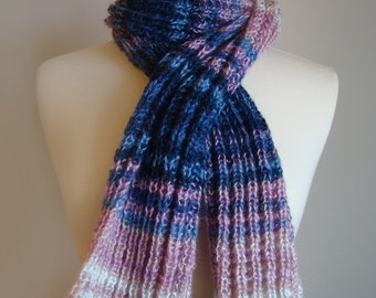 RESERVED Hand knit multicolor scarf, chunky soft scarf, blue pink knit scarf, warm winter scarf, striped multicolor scarf, gifts for her