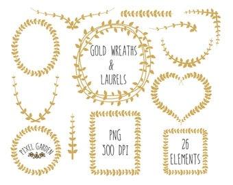 Digital Wreaths Clip Art. Gold Laurels Clip Art. Vine Frames and Borders. Weddings, Cards and Scrapbooking. Gold Leaf Frames Clip Art.