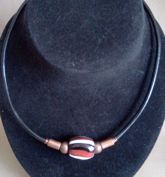 SINGLE STRIPED BEAD on Black Leather Cord with Copper Beads, Tubes, Copper Hook Clasp. Red, Black, White. For Men, Women, Unisex