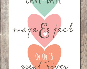 Save the Date, Heart Save the Date, Getting Married, Save the Date Wedding, Hearts, Trendy Save the Date, Trendy Printables, Engagement