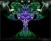 abstract fractal art print: Het-Heret... / tree green violet Hathor Het-hert goddess magic sacred energy