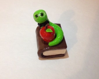 Polymer Clay Bookworm with Apple