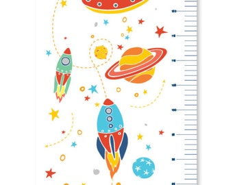 Space Growth Chart | Rocket Ship Children's Personalised Canvas Height Chart