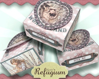 printable Box  Alice in Wonderland / INSTANT DOWNLOAD /Digital Collage Sheet/ gift box printable