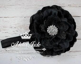 Black Flower Headband, Black Baby Headband, Baby Headband, Baby Girl Headband, Flower Girl Headband, Peony Headband, Newborn Photo Prop