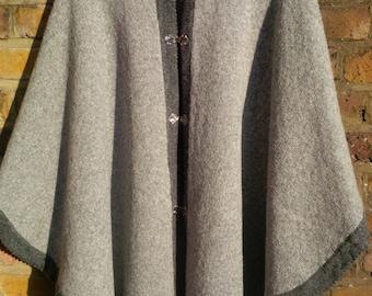 Pure Wool Ladies Poncho Gray with Dark Gray Border