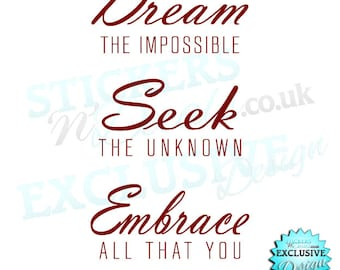 Dream the Impossible Seek the Unknown Embrace All That You Discover-Vinyl Wall Art Wall Decal Sticker Graphic Wall Decor Inspiration