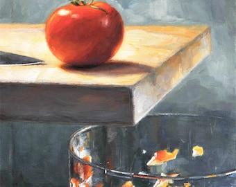 Original Still Life Oil Painting of Tomato, 'Walking the Plank,'  Framed