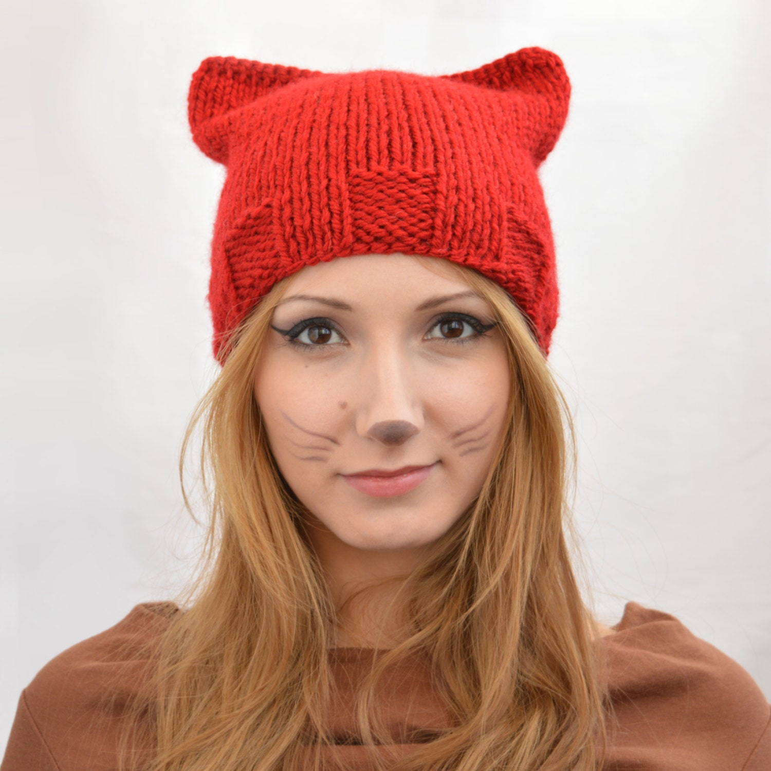 Knitting Women S Hats : Red square cat hat knit ear or beanie womens