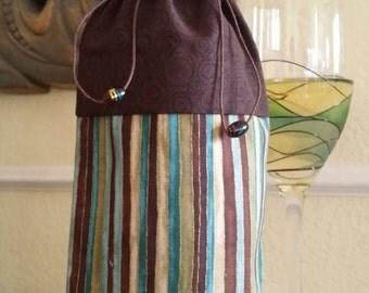 Deluxe Wine Bag-Glitter Collection (Chocolate Swirls n' Multi Stripe)