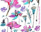 Customized Pink Fleur Tea Towel ~ Flour Sack, Ellie Fidler Painting
