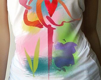 Flamingo Tank Top. Flamingo Shirt. Flamingo Top. Bird Shirt. Workout Shirt. Summer Shirt. Beach Shirt. Tropical. Womens Tank. Womens Shirt.