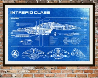 Star Trek Voyager Blueprint Art of Intrepid USS Voyager Class Technical Drawings Engineering Drawings Patent Blue Print Art Item 0100