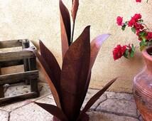 Budding Agave, Rustic, Metal Garden Sculpture, Metal Cactus, Metal Agave, Garden Decor, southwestern decor, metal yard art, garden art,agave