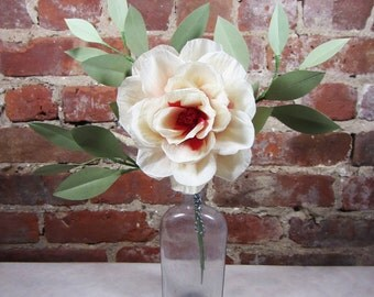 Paper Rose with Foliage