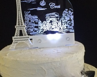 Paris Romantic White Eiffel Tower Personalized Wedding Cake Topper with LED light