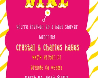 Pink and yellow baby shower invitation