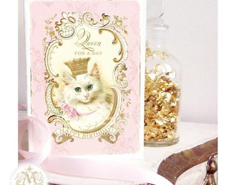 Cat card, Queen for a day, pink for Mothers day, birthday and friendship