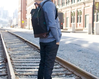 Professional Backpack, Mens Leather Canvas Backpack, Womens Laptop Backpack, Grad School Bag, School Backpack, 17 inch Laptop Backpack, MTO