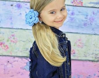 Light Blue Hair Clip Crochet Flower Hair Clip Flower Barrette Spring Hair Clip Summer Hair Clip Baby Girl Hair Clip Toddler Girl Hair Clip