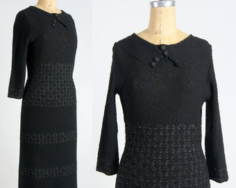 SALE- Knit Dress Ribbon Weave . 1960s