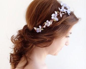 lilac flower crown, lavender floral crown, pastel wedding, flower girl, bridal hair piece, wedding headpiece, light purple flower,