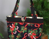 Handmade Christmas Tote Handbag, Christmas Purse, Holiday Tote Bag, Bows Candy Canes Holly Berries Christmas Tote Shoulder Bag, BunkyBags