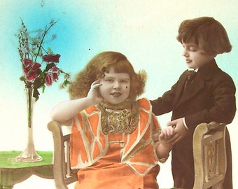 Vintage French Postcard Flirt Valentine Love Hand Tinted Color Paper Ephemera Scrapbooking Mixed Media Supplies Junk Journal