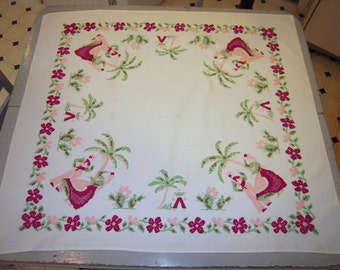 Vintage Tablecloth Mexican Dancers Under the Palm Tree