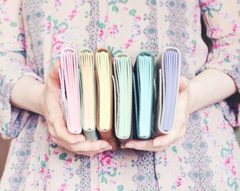 Leather Wrap Journal - Handbound Leather Blank Book - 6 x 4 - Custom - Pastel Colour Pages - A6