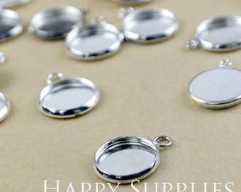 10Pcs 12 mm Silver Plated Brass Cabochon Pendant Base with 1 loop (GD131)