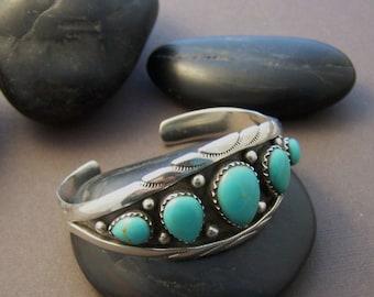Vintage Sterling Turquoise Cuff - Estate Gemstone Cuff Bracelet