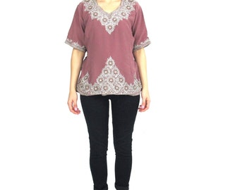 Vintage Indian Beaded Blouse Ethnic Silver Metallic Embroidered Hippie Boho Festival Sari Crop Top Mauve Purple Short Sleeve Shirt (M/L)