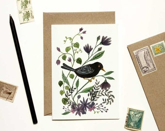 Black Bird with Purple Floral Card