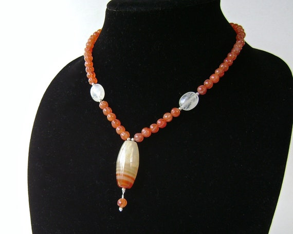 Carnelian Necklace, Sterling Silver, Red Agate, Carved Carnelian, Sardonyx, Hazel Quartz, Orange, Persimmon, Pumpkin, Fall