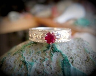 Ruby Ring in Sterling Silver, Size 6
