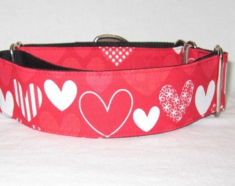 SALE Red Heart Martingale Dog Collar - 1.5 inch - white stripes polka dots flowers valentines day love hot sweet cute adorable