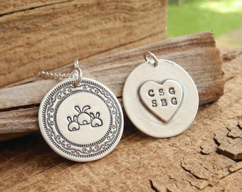 Personalized Mother and Twin Rabbit Necklace, Mom and Two Children, Heart Oval Monogram, Fine Silver, Sterling Silver Chain, Made To Order