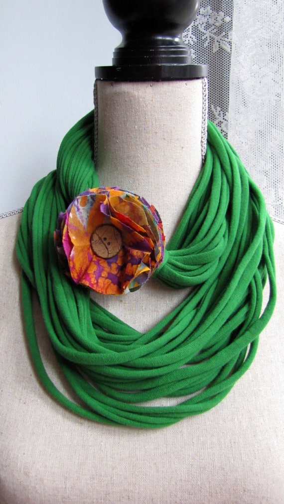 Kelly Green Multistrand Infinity Tshirt Scarf with Colorful Flower Clip