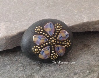 Mosaic Rock Paperweight / Garden Stone - Blue/Tan and Gold Flower
