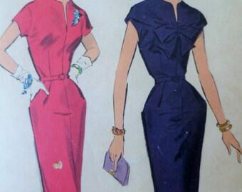 Vintage Advance 8556 Sewing Pattern, 1950s Sheath Dress Pattern, Bow, Peg Top, Bust 40, Vintage Sewing, Shoulder Drape, 1950s Sewing Pattern