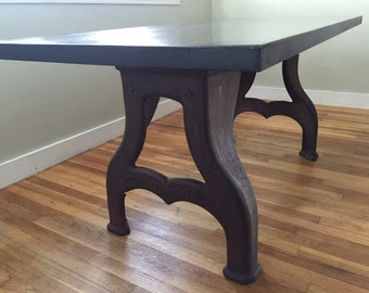 New Industrial Table With Antique Lathe Base