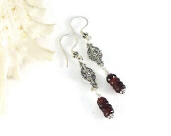 Garnet Earrings, Dangling Garnet Earrings, Garnet Jewelry, Stone Earrings, Boho,  Red Earrings, Red Garnet, Silver Jewelry, Hippie, January