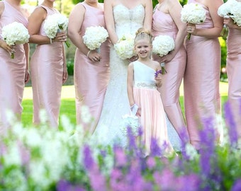 Ivory Flower girl, Blush Flower girl, One Shoulder Dress, Rhinestone Sash, The Mia Dress, Made to measure in the USA by Mia Loren Boutique