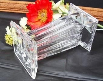 Vintage Lead Crystal Vase / Glass Vase Centerpiece / Crystal Candle Holder / Square Vase
