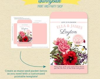 Wildflower Seeds Wedding Favor, Printable Seed Packet, DIY garden wedding favor seed packets, love bloom wildflowers