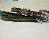 Black leather belt , thin black belt , stacheldraht gürtel , skinny belt , barbed wire belt ,