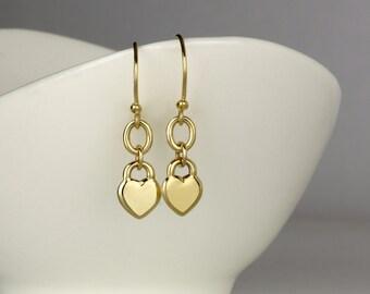 14k Gold earrings, gold heart earrings, solid gold dangle earring, Valentines gift